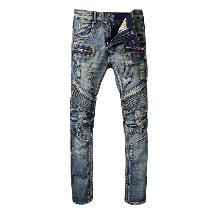 ФОТО 2016 New Men's Nightclubs classic hole Jeans, Fashion Designer many pocket Denim Jeans Men,plus-size 28-42, casual jeans