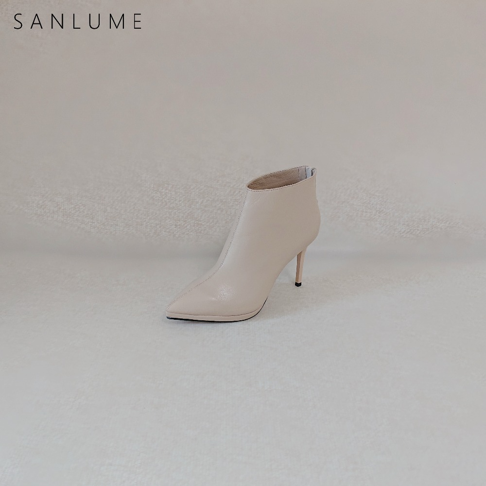 SANLUME Tire Cowhide Spring Autumn Ankle Boots For Women Genuine Leather Platform Shoes Woman High Heel Ladies Sexy Boots