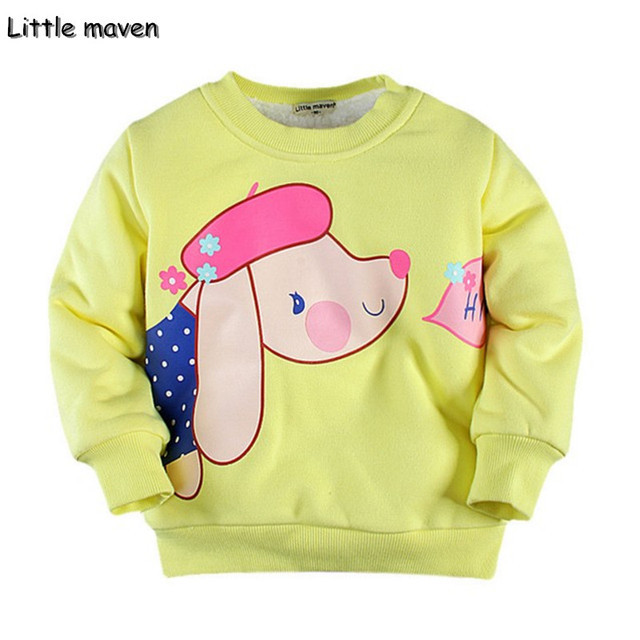 Little maven 2017 inverno meninos/meninas roupas de marca crianças de algodão quente olá lovely dog grosso cochilando hoodies & camisolas wy007