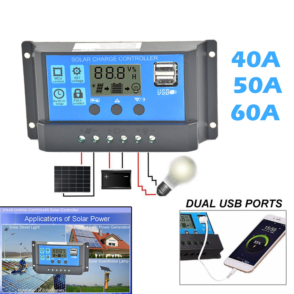 Consumer Electronics Accessories & Parts Delicious Solar Panel Regulator Charge Controller Usb 40a/50a/60a 12v-24v With Dual Usb Jun29