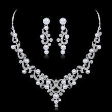 Wedding Jewelry Sets Fashion Crystal Bridal Jewelry Set For Women Choker Necklace Earring Imitation Pearl Wedding Decoration gorgeous crystal bridal jewelry sets wedding necklace earring set for brides party accessories rhinestones decoration gift women