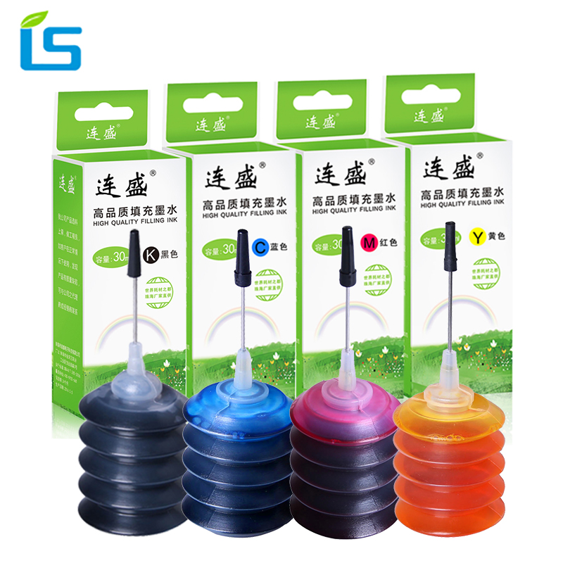 4Pcs Ink Universal Refill Ink kit 30ml Dye Ink BK C M Y Compatible For HP for Canon for Brother for Epson for DELL printers compatible dell 5100cn toner cartridge bk m c y 4pcs lot