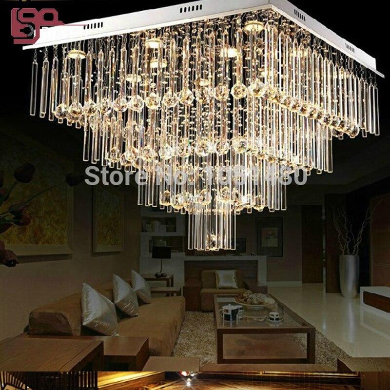 modern flush mount home chandeliers crystal lights length 600mm