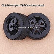 2pcs/lot Decool TECHNIC 81.6x36mm tyre + 56x34mm inner wheel mechanical legos 15038 56907 MOC DIY blocks bricks parts
