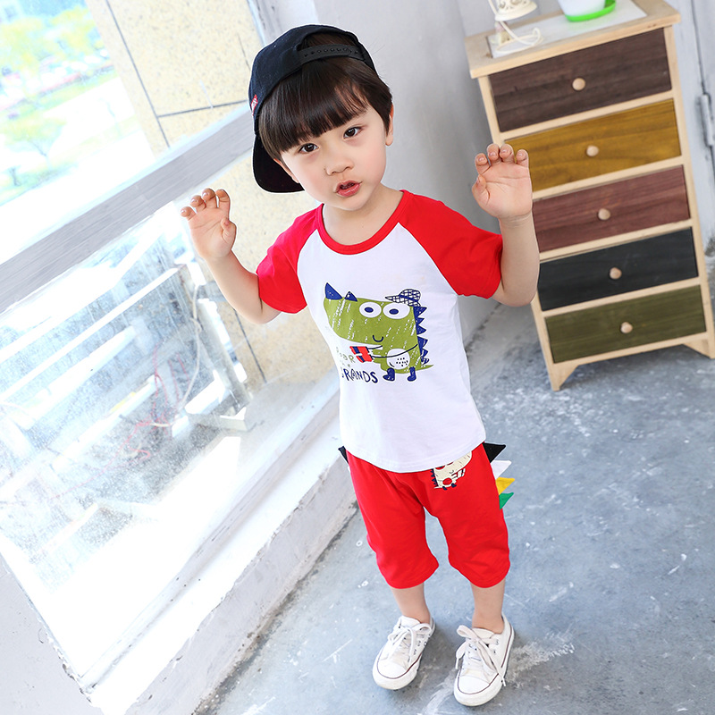 2018 Cute Kids Set Baby Boys Summer Clothes Dinosaur Shirt+shorts Suit Children Clothing Infantil Vetement Enfant Garcon Costume