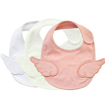Cotton Newborn Baby Bibs Angel Wing White Baby Bib for Grils Embroidery Baby Bib Waterproof Saliva Smock Infant Burp Cloths flower embroidery front smock top
