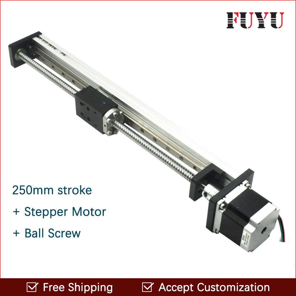 Free shipping New Coming 250mm stroke Aluminum Profile Rail With Motor and Ball Screw For Automatic System free shipping new arrival 35pcs pack 2m pcs led aluminum profile for led strips with milky or transparent cover and accessories