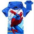 2016 новый человек паук мальчики - детский мультфильм мода с капюшоном супер герой майка летом хлопковой свободного покроя дети короткая рубашка, Yc005