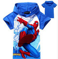 2016 New Spiderman Boys T-shirt Children's Cartoon Fashion Hooded Super Hero T shirt Summer Cotton Casual Kids Short Shirt,YC005