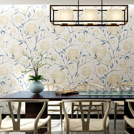 Купить с кэшбэком New Chinese wallpaper vintage bedroom non-woven wallpaper classical living room background wall paper fire tree silver flower