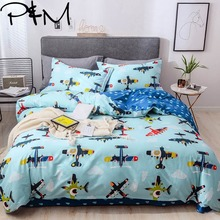 Papa&Mima Small planes print Cartoon style bedding sets Cotton bedlinens Twin Queen King size pillowcases duvet cover