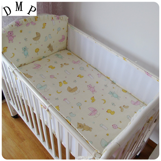 Promotion! 5PCS Mesh  Baby Bedding Set Baby Bed Linen Cartoon Cot Sheet Bumper Cot Set,include(4bumpers+sheet)