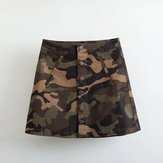 8b5d0c926 Causales de las mujeres faldas cortas AA Ejército camuflaje Bolsillos faldas  de Cintura Alta de las