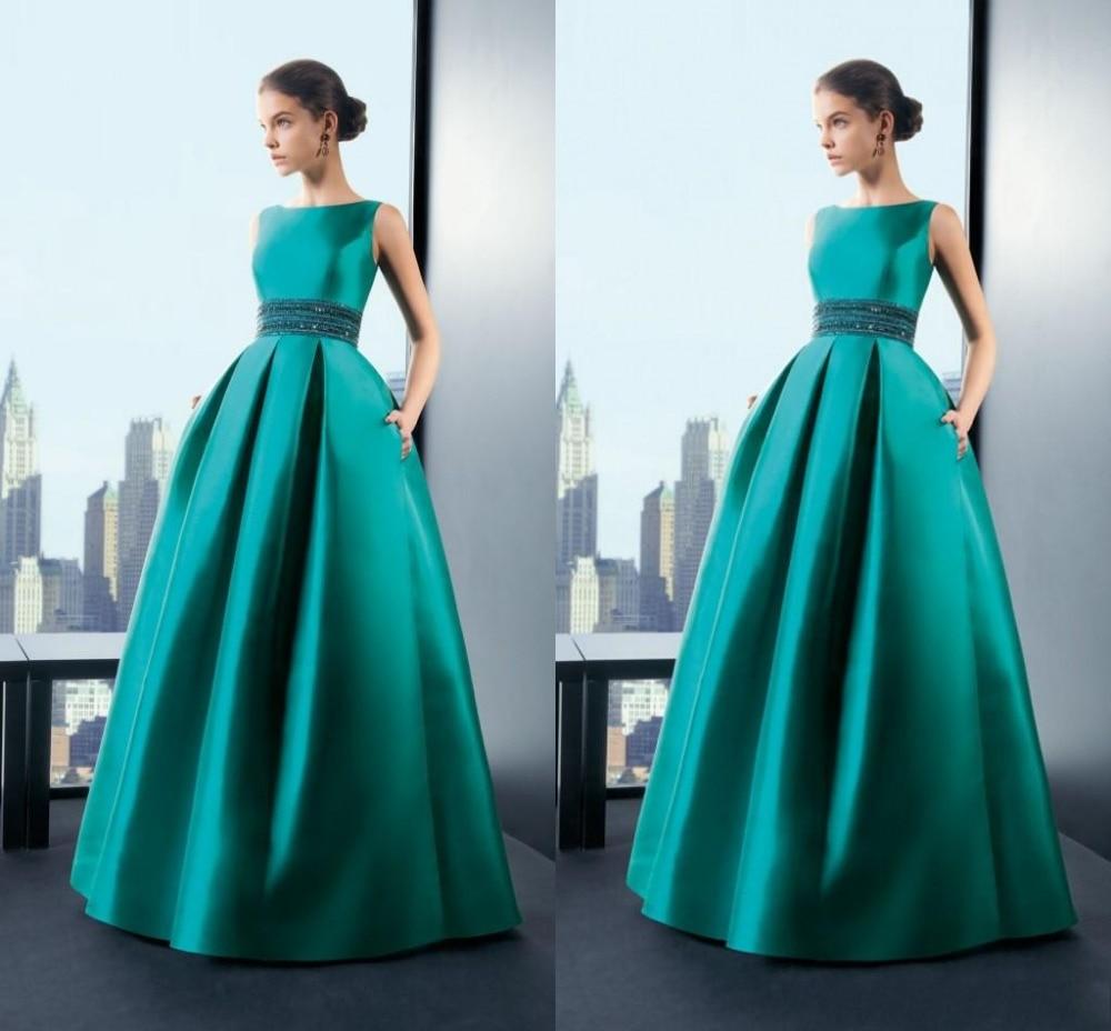 Великолепные изумрудно-зеленые вечерние платья а-силуэта с высоким воротом без рукавов с карманами платья для выпускного вечера Длинные платья знаменитостей