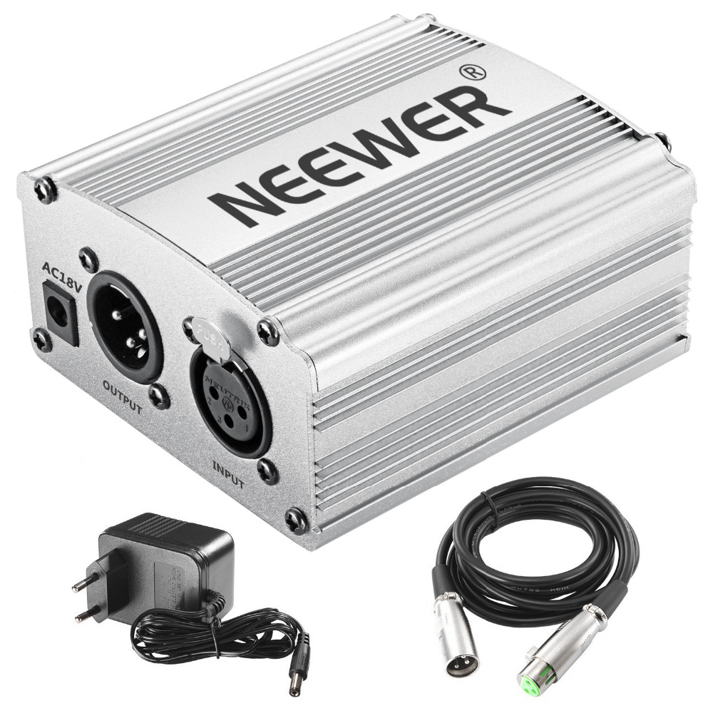 Neewer Phantom Power Kit Includes: 1-Channel 48V Phantom Power Supply For Any Condenser Microphone Music Recording Equipment