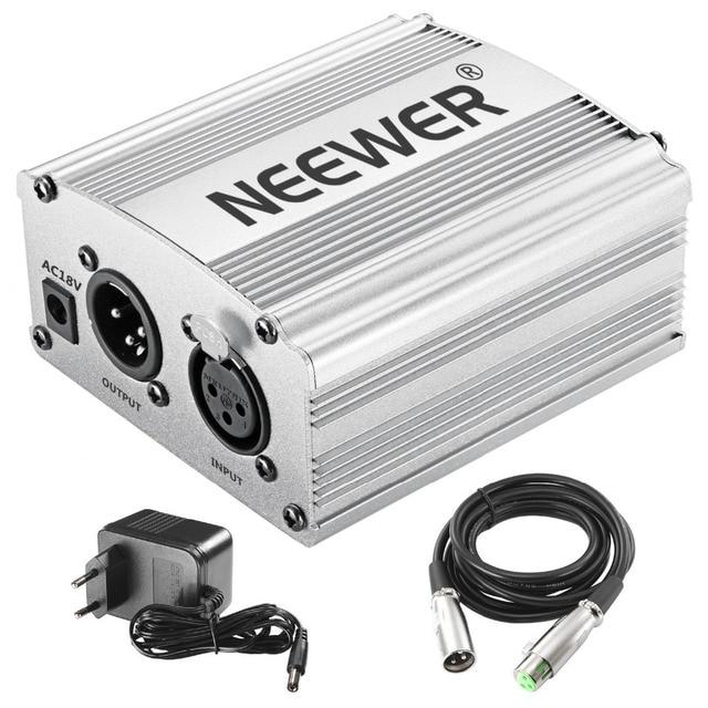 Neewer Phantom Power Kit includes: 1-Channel 48V Phantom Power Supply for Any Condenser Microphone Music Recording Equipment