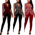 Night Clubwear 2017 Sexy Rompers Womens Jumpsuits Cut Out Backless Bandage Mesh Patchwork Casual Studded Sleeve Bodycon Playsuit