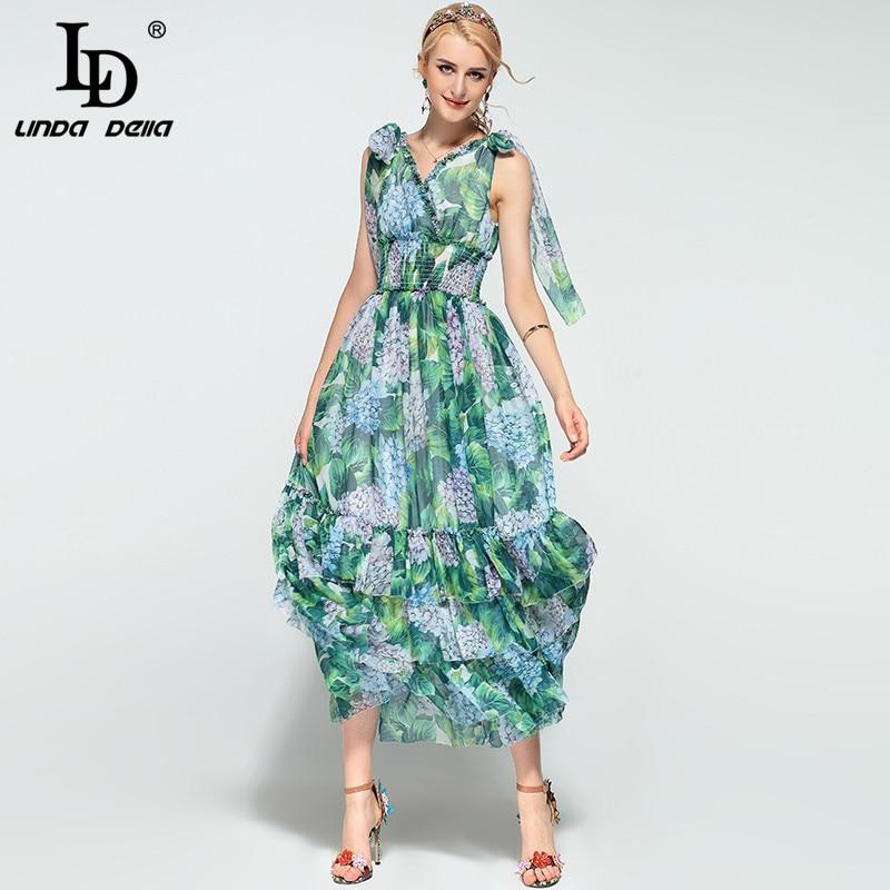 High Quality Summer Boho Beach Maxi Dress Women s Sleeveless V neck Tiered Floral Print Green