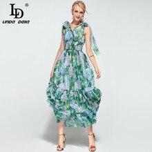 Di alta Qualità di Estate di Boho Beach Maxi Vestito delle Donne Senza Maniche con scollo a V A File Stampa Floreale Verde Casual Vestito Lungo