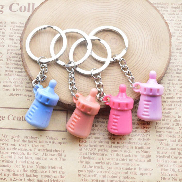 free shipping 500pcs/lot colorful resin feeding bottle keychain keyring baby showers party favors and gifts souvenirs supplies