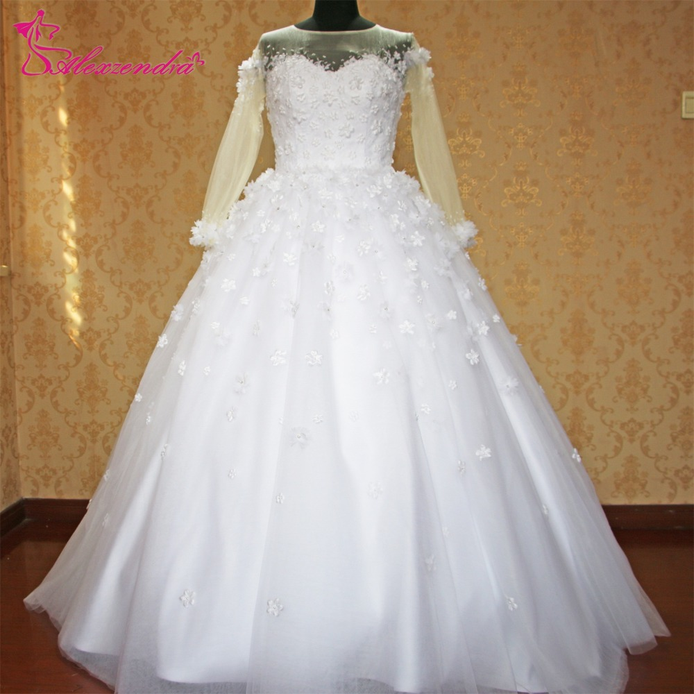 Wedding Dress Illusion Back: Alexzendra White Ball Gown Wedding Dress With Long Sleeves