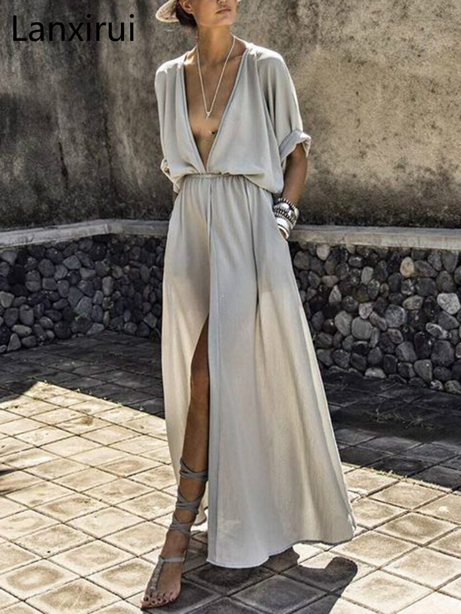 Women Sexy Dress Deep V Neck Elastic Waist Plain Split Dress Solid Chiffon Maxi Dress Ladies Beach Party Dress Drop Shipping