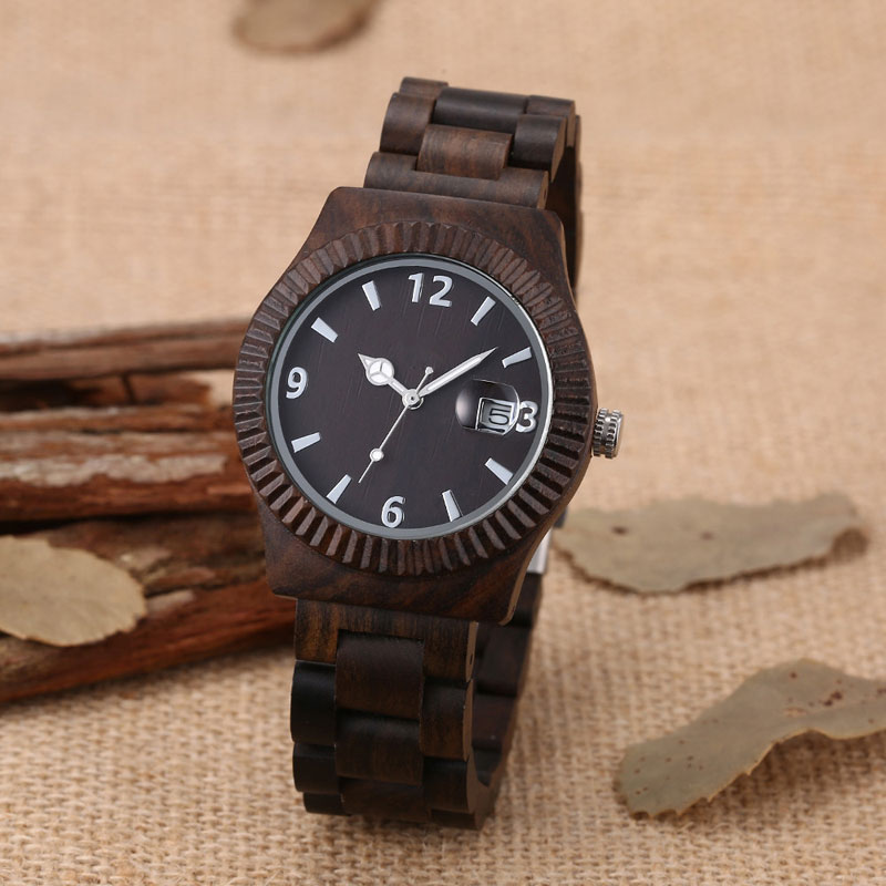 Wood watch new arrival classic wrist watches men bracelet clasp japan 2035 movement quartz clock with