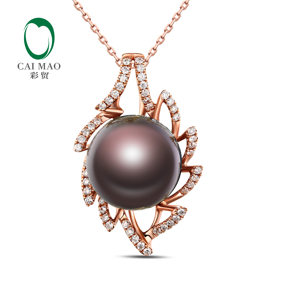 18k Rose Gold precious 12-13mm Round Freshwater Pearl 0.33ct Diamond Pendant manufacturer Free Shipping18k Rose Gold precious 12-13mm Round Freshwater Pearl 0.33ct Diamond Pendant manufacturer Free Shipping