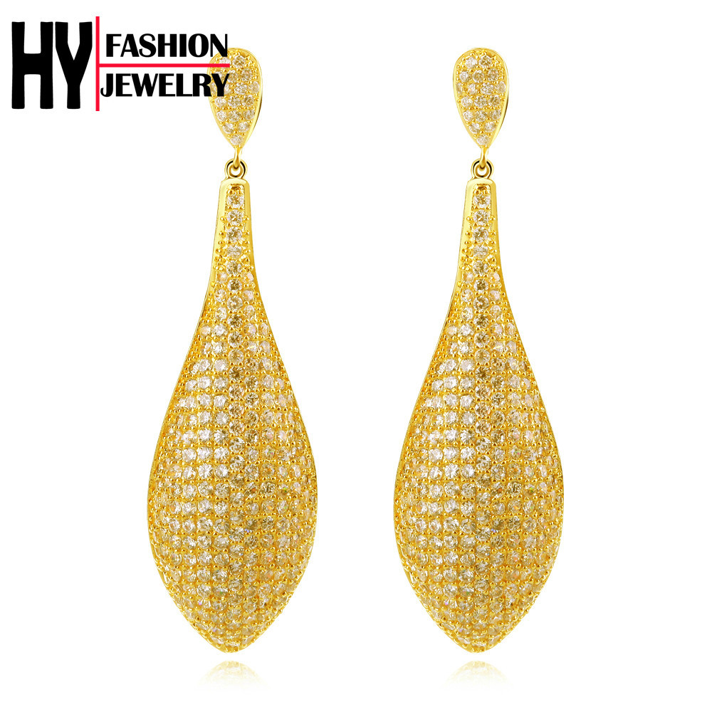 Gold pated Long Drop Earrings 440 Pcs White Cubic Zirconia Pave ...