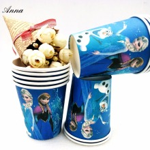 10pcs/lot Frozen Elsa Anna Party Supplies Paper Cup Cartoon Birthday Decoration Baby Shower Theme Gril