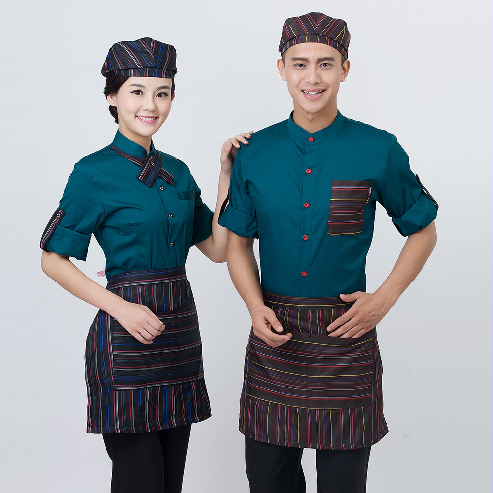 Us 16 28 18 Off Staff Workwear Fashion Short Sleeve Coveralls Tea Shop Catering Restaurant Uniforms Shirts Apron Sets Black Tops Free Shipping In