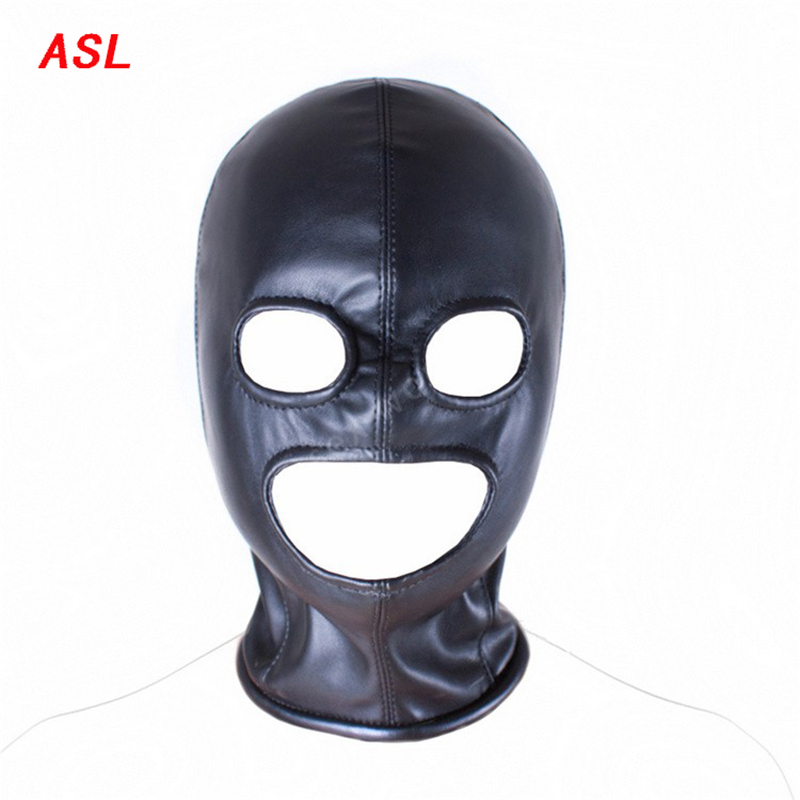 Men Full Gimp Bondage Hood Mask Black Soft Leather Unisex BDSM