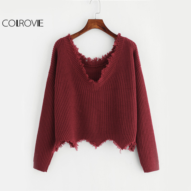 196067a28a COLROVIE Cut Edge Knit Sweater Women Drop Shoulder Long Sleeve Casual  Pullovers Fall Fashion Burgundy Sexy
