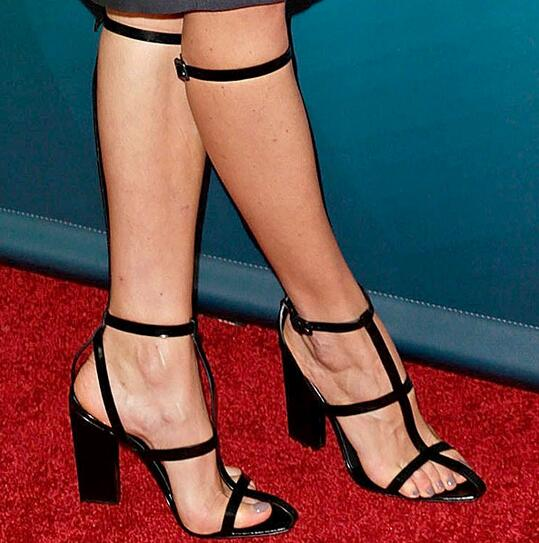 Name Brand Elegant Celebrity Dress Shoes White Black Thick Heel Long Sandals Crisscross T-Bar Open Toe Lady Sandal Boots Size 44 plunge crisscross open back high slit maxi dress