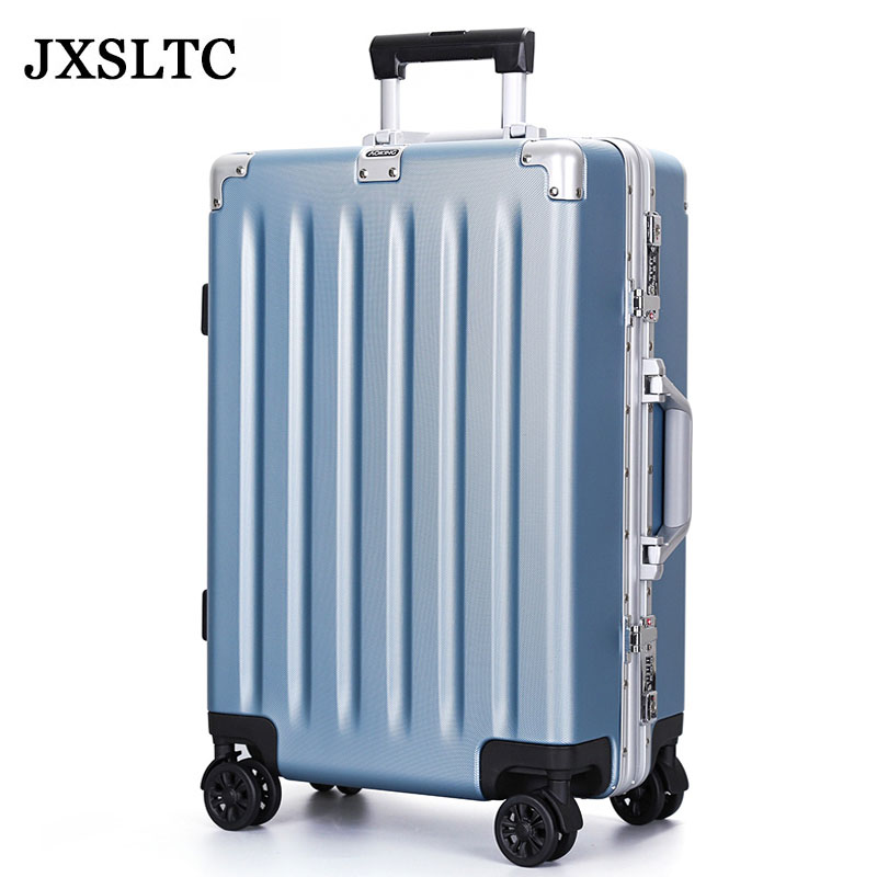Men Fashion Rolling Suitcase Luggage Bags Aluminum Frame ABS Shell Women 24inch Trolley Luggage Travel Case Universal Wheels