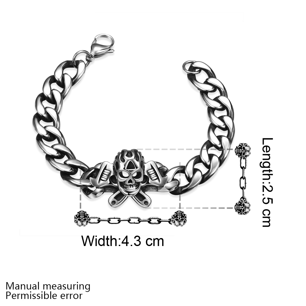 02a77809c9141 US $15.7 |Unique Design Stainless Steel Male Chain Best Gift Punk Skull Men  Bracelets & Bangles Gothic Charm Jewelry Pulseiras Masculinas-in Chain & ...