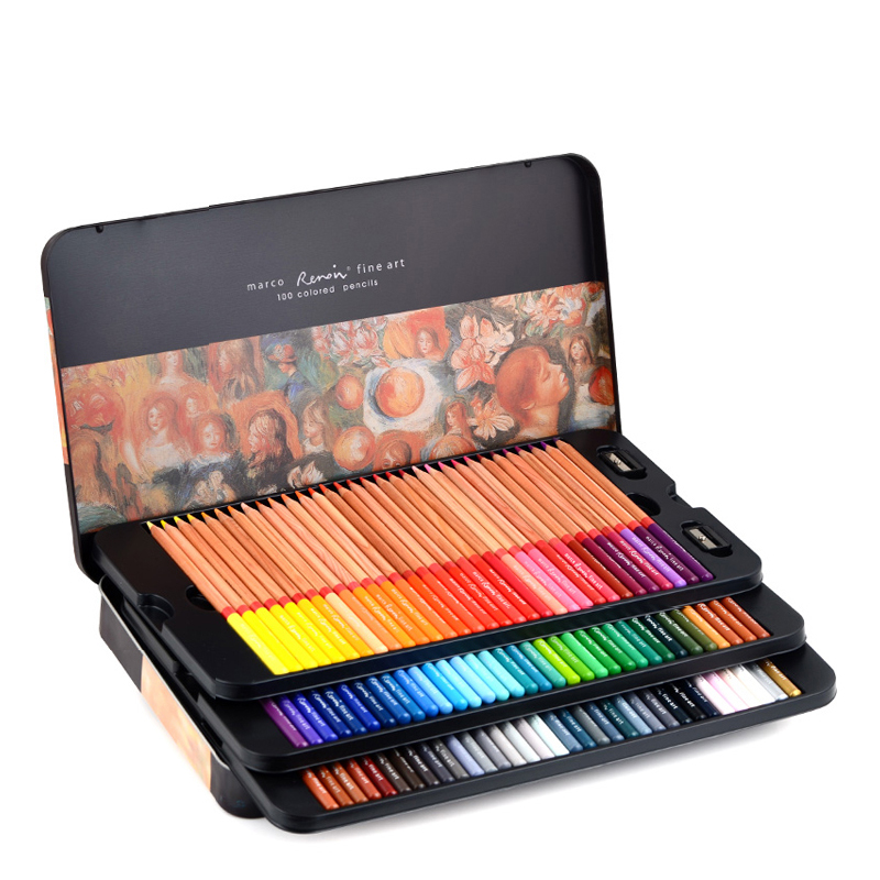 Marco Renoir Fine 24/36/48/72/100 Professional Oily Color Pencils Coloured Drawing Pencil Set Art Supplies For School Office