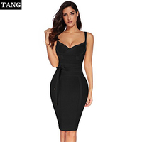 Tang 2019 New arrival Party Women Bandage Dress Summer Yellow Bodycon Dress V Neck Spaghetti Strap Autumn Bandage Dress