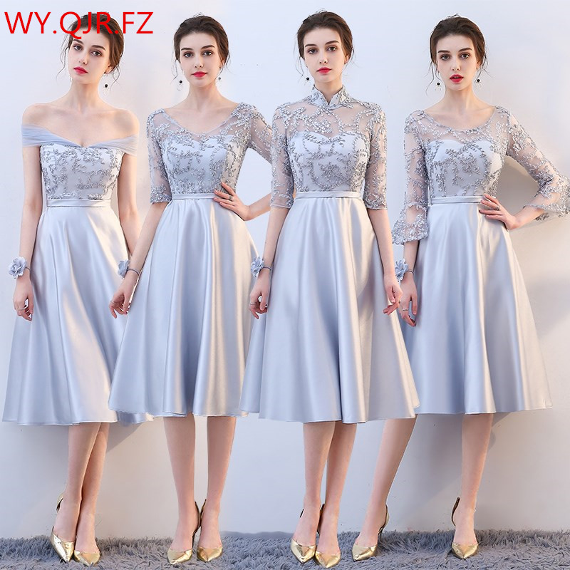 KBS025H#Medium And Long Grey Lace Up Bridesmaid Dresses Wedding Party Prom Dress Girls 2019 Spring New Wholesale Cheap Bridal