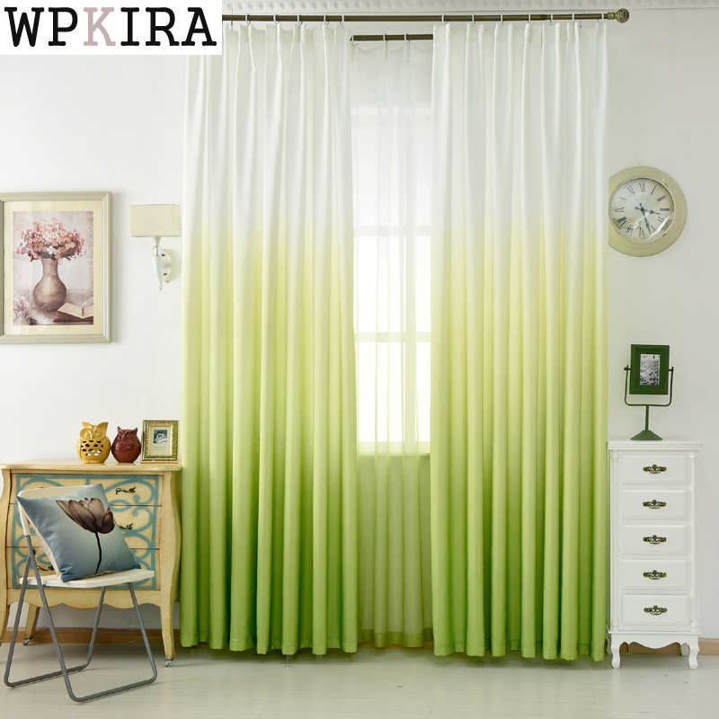Luxury Grey Curtains For The Living Room Green Gradient Semi-blackout Cloth Drapes For the Bedroom Blue Tulle Cortinas 185&30