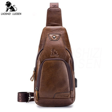 Male Casual Chest Pack USB Charging Crossbody Bags for Men Shoulder Sling Bag Travel Leather