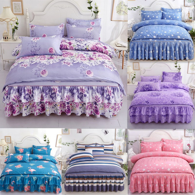 Romantic Printing Bedding Sets 4pcs Family Set Bed Sheet Duvet Cover Pillowcase  Bedroom Decoration Flower Printed Bedspread