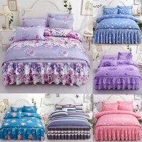 Romantic Printing Bedding Sets 4pcs Family Set Bed Sheet Duvet Cover Pillowcase Bedroom Decoration Flower Printed Bedspread