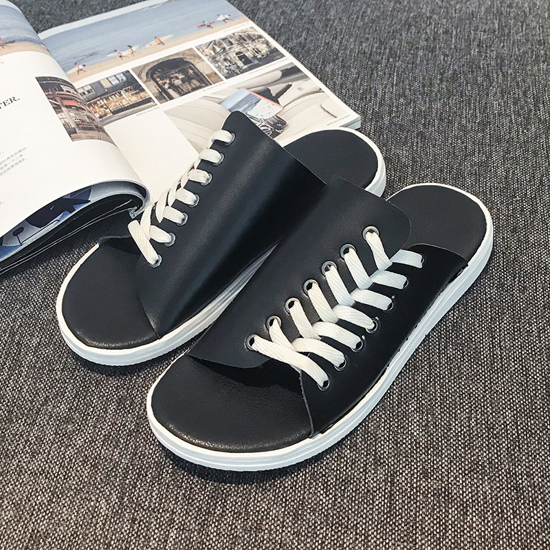 2019 New Indoor Home Slippers Wearable Flats Slippers Men High Quality Soft Sole Slippers Black White Men Water Slide Shoes in Slippers from Shoes