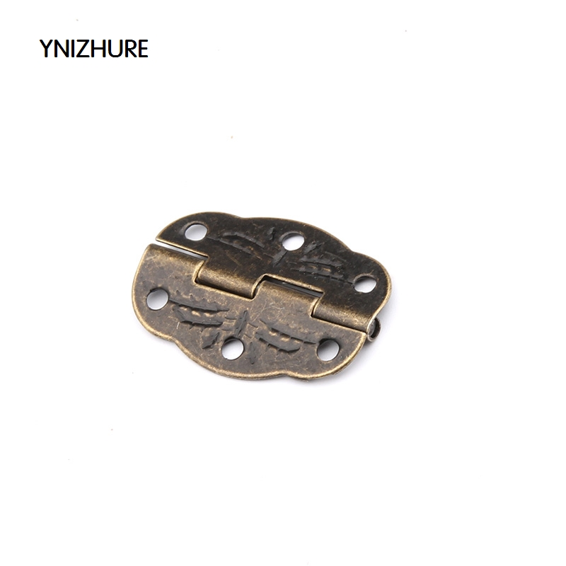 50pcs YNIZHUR 30mm x 22mm Bronze Mini Butterfly Door Hinges Cabinet Drawer Jewellery Box Hinge With Screw For Furniture Hardware