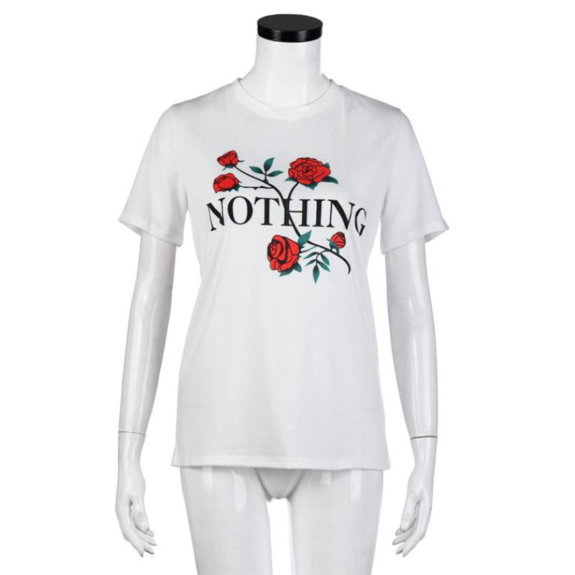 Brand New 2017 New Fashion  Womens Nothing Rose  Printing Summer Loose Tops Short-Sleeved T-Shirt 804261