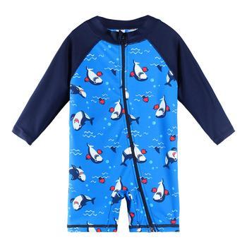 BAOHULU UPF50 + Cartoon stroje kąpielowe dla dzieci z długim rękawem Baby Boy stroje kąpielowe One Piece maluch strój kąpielowy dla niemowląt strój kąpielowy dla chłopców dziewcząt tanie i dobre opinie NYLON Stretch Spandex Chłopcy Jeden sztuk Pływać Pasuje prawda na wymiar weź swój normalny rozmiar S271 navy baby swimwear