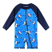 BAOHULU UPF50 + Cartoon stroje kąpielowe dla dzieci z długim rękawem Baby Boy stroje kąpielowe One Piece maluch strój kąpielowy dla niemowląt strój kąpielowy dla chłopców dziewcząt tanie tanio NYLON Stretch Spandex Chłopcy Jeden sztuk Pływać Pasuje prawda na wymiar weź swój normalny rozmiar S271 navy baby swimwear