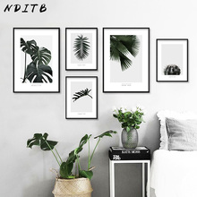 NDITB Plant Green Leaf Cactus Canvas Art Poster Print Nordic Style Minimalist Painting Decorative Picture Modern Home Decoration