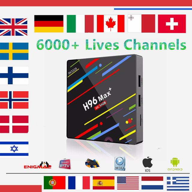 US $113 4 19% OFF|IPTV Box H96 Max Android TV Box 8 1 4GB/32G With1 year  Europe iptv subscription French Spain Italy Dutch livetv for smart tv  box-in